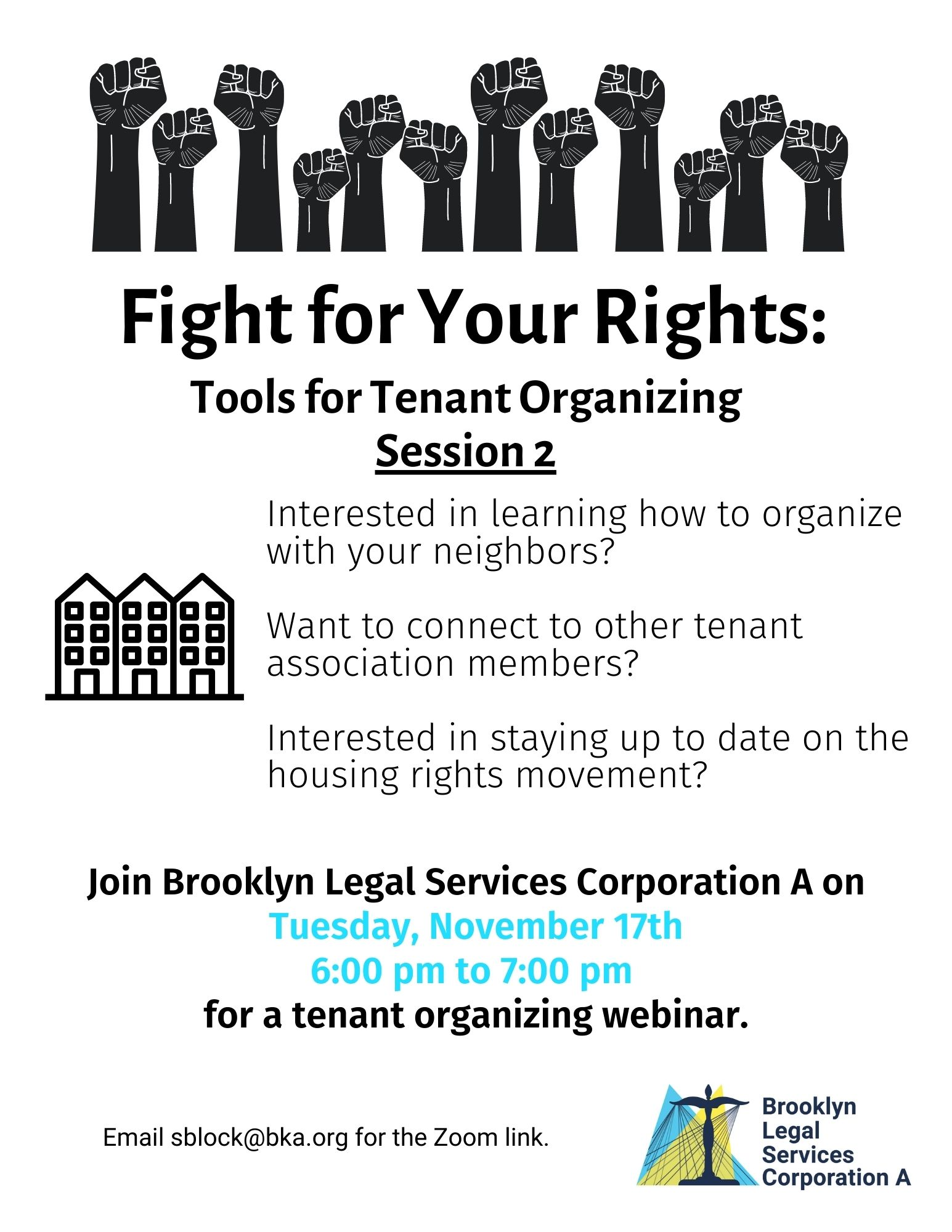 Webinar: Fight For Your Rights: Tools For Tenant Organizing Session #2 – November 17th, 2020 At 6 Pm