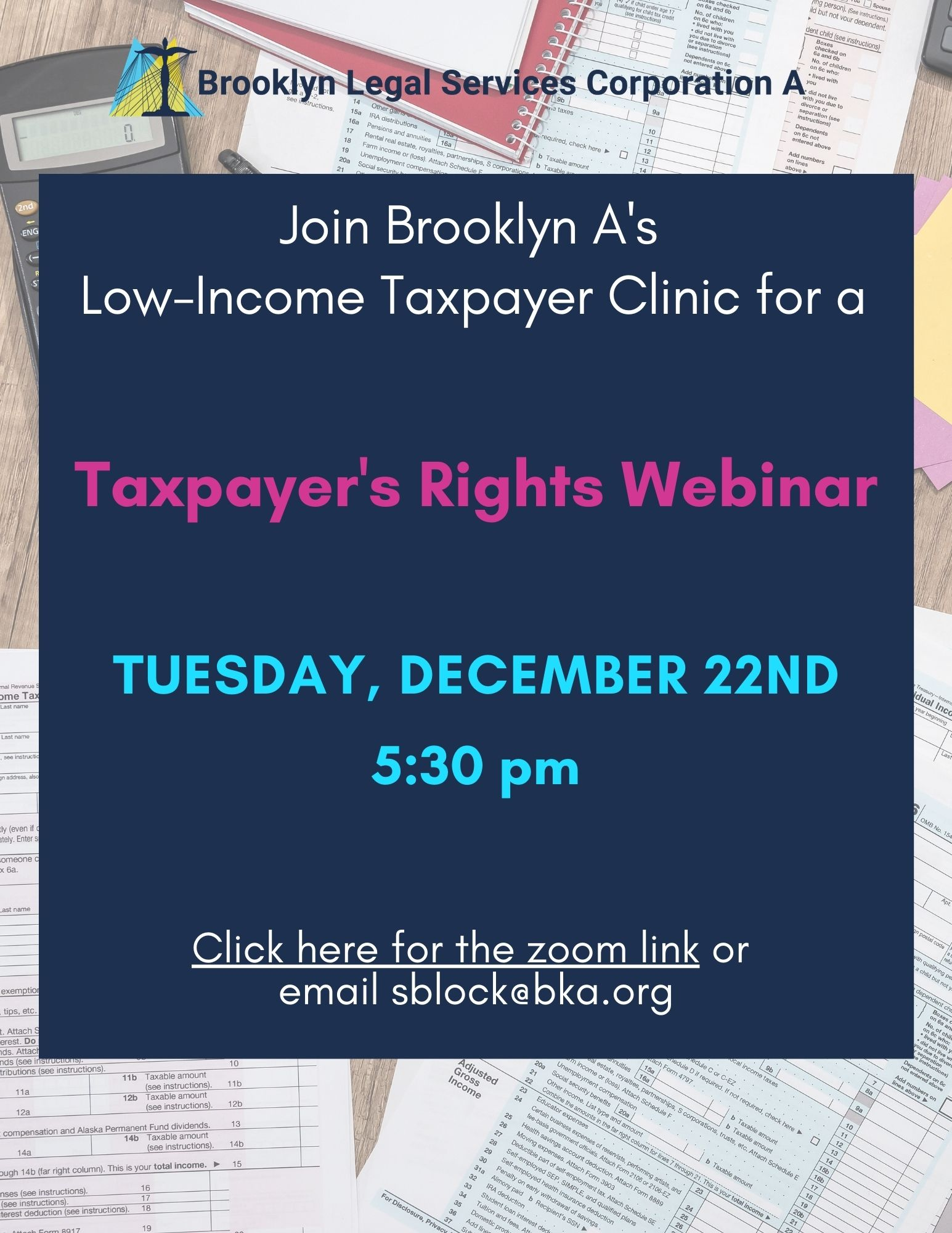 Webinar: Taxpayer's Rights – December 22nd, 2020 At 5:30 Pm